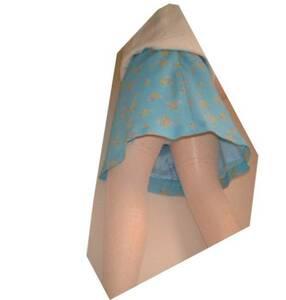 上品なブルー純国産フレアミニに新品チラ見せ下着2セット付属!