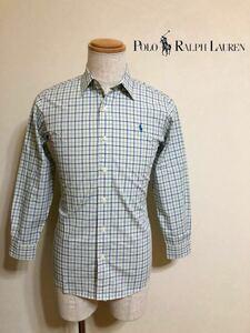 Polo Ralph Lauren ポロ ラルフローレン チェック柄 シャツ トップス ジュニアサイズ160 長袖 白 青 緑