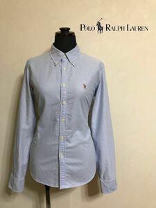 【美品】 Polo Ralph Lauren ポロ ラルフローレン ボタンダウン レディース オクスフォード シャツ トップス サイズ11 長袖 ブルー