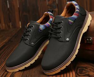 【新品】 26cm ブラック 黒 スニーカー メンズ 紳士 靴 ビジネス カジュアル 防水 レースアップ PU レザー プレーントー シューズ #281