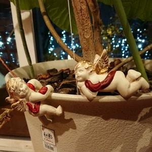 【送料無料】天使の鉢飾り 陶器 二体セット クリスマスに クリスマスオーナメント