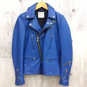 廃盤☆lewis leathers ルイスレザー 402T ライトニング タイトフィット カウハイド レザー ライダース ジャケット 32 メンズ ブルー 青