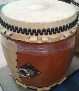 (( free shipping )) used Japanese drum nagadodaiko Komatsu cape ... shop surface approximately 43cm height approximately 56cm