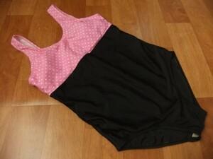 TYRティア ツートンカラー ピンクドット フィットネス 競泳水着 ワンピース 黒 M
