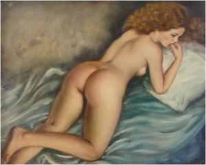 158000円~ヨーロッパ絵画 油絵 F30号ブルーニンガー作「裸婦」 2-新品-特価-