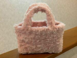ハンドメイド☆もふもふミニバッグ(ピンク) トートバッグ ファーバッグ