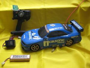★激安★1/10RC タミヤ電動ラジコン シャーシ 完成品 GT-R R33 フタバプロポ 充電池2本 充電器 TAMIYA