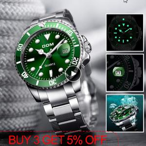 DOM 高級メンズ腕時計 30m防水日付時計 男性スポーツ腕時計 男性用クォーツ腕時計レロジオ k-1709