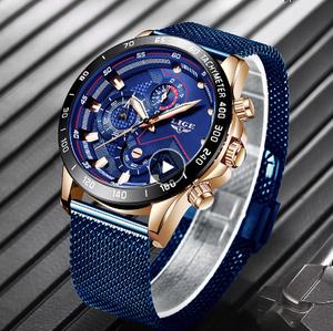 新 LIGE ブルーカジュアルメッシュベルト ファッション金時計 メンズ腕時計トップブランド 高級防水時計レロジオ Masculino k-1711