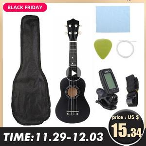 21インチ ウクレレソプラノ 4 弦ハワイトウヒバスウッドギター楽器セットキット + チューナー + 文字列 + ストラップ + バッグ k-1326