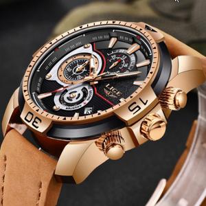 メンズ 腕時計トップブランド 高級カジュアルレザークォーツ時計 男性スポーツ防水時計ゴールド時計 男性レロジオ Masculino k-1419