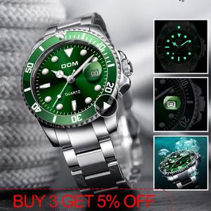 トップブランド DOM 高級メンズ腕時計 30m 防水日付時計男性スポーツ腕時計 男性用クォーツ腕時計レロジオ Masculino k-1429