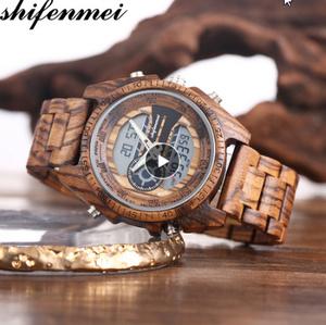 木製腕時計 スポーツクォーツメンズウォッチ トップブランド 高級 LED デジタル時計 木製腕時計 男性レロジオ k-1563