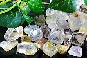 【送料無料】 200g さざれ 中サイズ ルチル & ガーデン クオーツ 水晶 パワーストーン 天然石 ブレスレット 浄化用 さざれ石 チップ ※5
