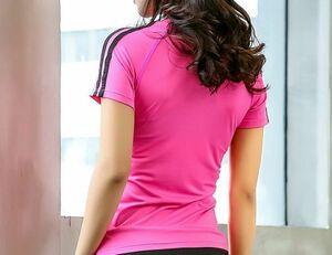 ヨガウェア Tシャツ M ピンク 速乾性 半袖 レディーストップス ラインが可愛いおしゃれ エクササイズ フィットネス ランニング