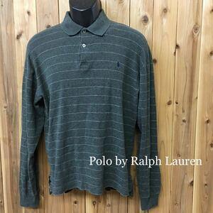 90s Polo by Ralph Lauren ◇ポロ ラルフローレン //メンズ size S グレー ボーダー ロゴ刺繍 長袖 ポロシャツ トップス コットン USA古着
