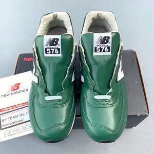 デッドストック 廃番 USA製 NEW BALANCE M576G GREEN US9.5D 27.5cm ガラスレザー 新品 ビンテージ アメリカ米国製 緑 グリーン×ホワイト