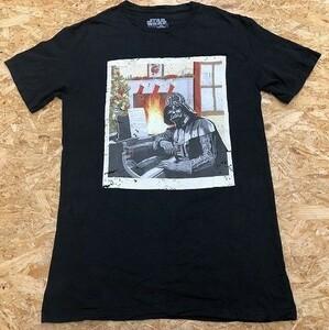STAR WARS スターウォーズ SMサイズ メンズ インポート古着 Tシャツ 丸首 ダースベイダープリント 半袖 綿100% 黒×オフホワ×赤
