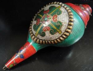 ◆チベット密教法具 法螺貝(シャンカ)羯磨(カツマ)B2