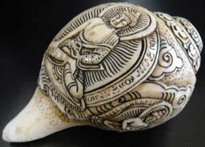 ◆チベット密教法具 法螺貝(シャンカ)五智如来-B