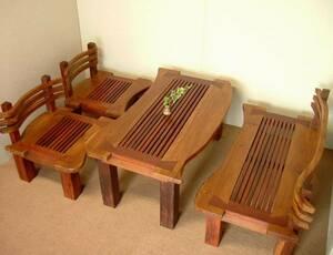 『癒し』アジアン家具*無垢チーク材*北欧*珍品★四点応接セット