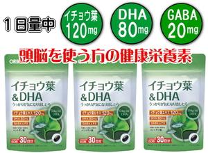 【送料無料】イチョウ葉&DHA 60粒(30日分)×3個セット オリヒロ●