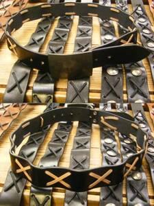当店オリジナル製作! クロスレース飾りベルト[黒]×[ナチュラル色革ヒモ][M=85cm]新品が送料無料で! ※レッドムーン風
