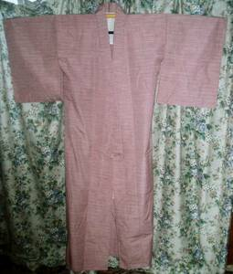 ウール 真綿紬風 ピンク色地 横縞