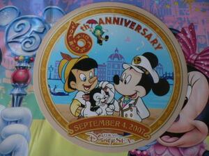 即決♪新品未使用♪東京ディズニーランド25周年記念 東京ディズニーシー6周年缶バッジポストカード♪TDR TDL TDS♪