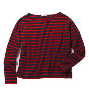 新品 ピーチジョン PEACH JOHN*ドロップ ショルダー ルーズ 長袖 Tシャツ/紺色×赤 ネイビー レッド ボーダー Mサイズ~Lサイズ ビックT