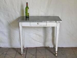 小ぶりなウッド×メタルの古いテーブル フランス(白) アトリエ デスク ヴィンテージ アンティーク FRANCE 仏 木製