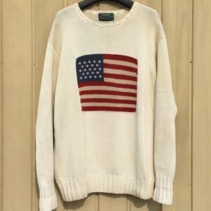 80s~90s RALPHLAUREN POLOCOUNTRY 星条旗柄セーター オフホワイト M コットン / RRL
