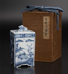 清 青花方爐 共箱 中国 古美術