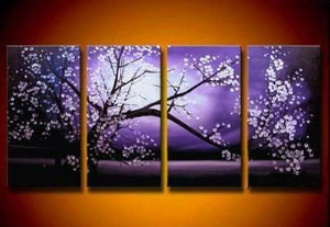 【受注制作】アートパネル 『夜桜』 30x60cm x 4枚組