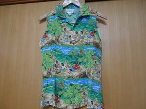 即決 ハワイ レインスプーナー ノースリーブ シャツ ブラウス 風景柄 XS レーヨン素材