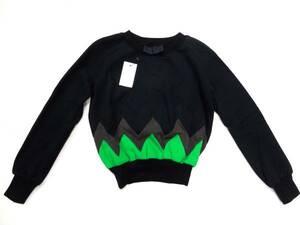 新品未使用 ダークヴァンセーヌ DIRK VAN SAENE マルチカラー パッチワーク スウェット シャツ 黒 ブラック 緑 グリーン 灰 グレー