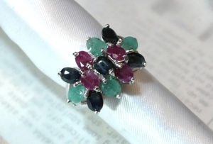 [T's] SR909 Ring Silver 925 Ring Ring No. 13 Ruby Sapphire Em