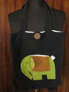 アジアン バッグ 像 ゾウ エコ トート 手提げ 肩掛け 鞄 カバン かばん 黒
