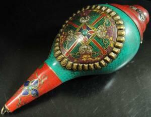 ◆チベット密教法具 法螺貝(シャンカ)羯磨(カツマ) M3