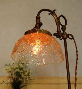 繊細な美しさ ランプシェード プレスガラス アンティーク ビンテージ 照明電傘 ライトの傘 L31