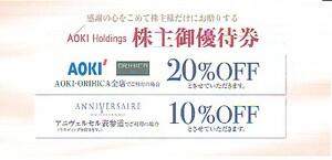 最新!AOKIホールディングス株主優待券、送料込