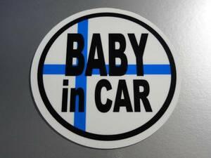 BC* Finland national flag BABY in CAR sticker 7.5cm size * baby ..... * lovely round shape Northern Europe original design EU(1