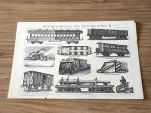 汽車/鉄道■図版■ドイツ■アンティーク/1890年