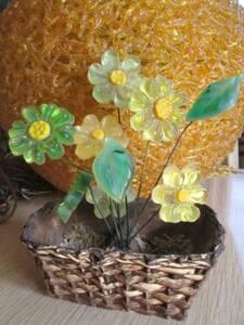 希少品!アメリカアンティーク 70's 花の樹脂置物 ヴィンテージ インテリア/西海岸カリフォルニア蚤の市ブロカント雑貨ハワイイギリス
