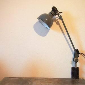希少 ドイツ ヴィンテージ Rademacher 琺瑯 ランプ 照明 グレー バウハウス 工業系 店舗什器 シャビー古道具 小物 家具