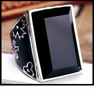 新品 センターブラックストーン花柄リング指輪