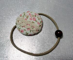 New Handmade Care Button Hair Gom Small Floral Pattern