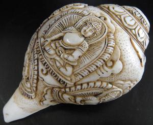 ◆チベット密教法具 法螺貝(シャンカ)五智如来-A