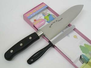 関の刃物 三徳包丁 ミニ ダイヤモンドシャープナー セット 17cm (170mm) 肉 魚 野菜切り 両刃万能包丁 砥石 簡単に研げる エコ商品 日本製