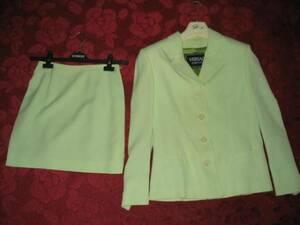 即決!ヴェルサーチスーツ緑グリーン白ホワイトストライプ